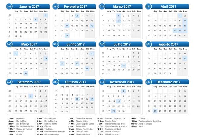 download do calendário de feriados e datas comemorativas em 2017
