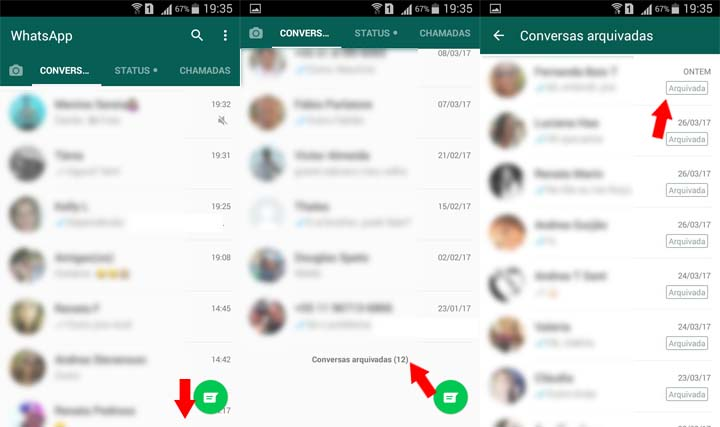 esconder arquivar conversas WhatsApp android